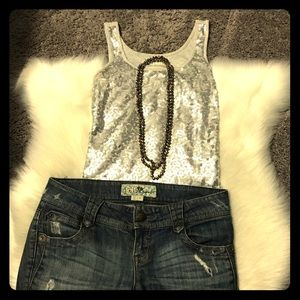 Old Navy silver sequin tank top